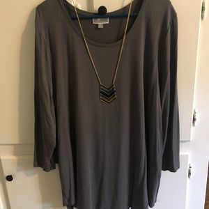 JM Collection Plus size 2xl tunic 3/4 sleeves